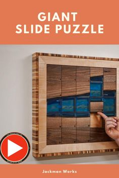 A river table pallet, plus some real pallet wood, makes a Jackman-sized slide puzzle! Check out his video here.  #jackmanworks #diypuzzle #diyslidepuzzle #slidepuzzle #rivertable Cool Woodworking Projects, Woodworking Videos, Diy Woodworking, Pallet Wood, Wood Pallets, Projects For Kids, Diy Projects, Diy Slides, Play Houses