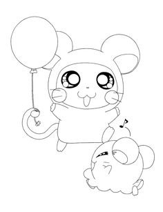 Hamtaro With Rings In The Ears  Hamtaro Coloring Pages