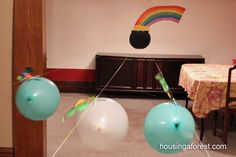 Racing balloon leprechauns for St. Patrick's Day. This will be fun for Grandma too!