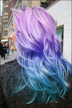 purple blue ombre hair : wouldn't look good on me, but cute(: