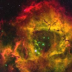 This stunning emission-line image of the Rosette nebula (NGC2237)  has been re-processed in support of NOAO  Press Release 04-03. - Minimum credit line: T. A. Rector/University of Alaska Anchorage, WIYN and NOAO/AURA/NSF
