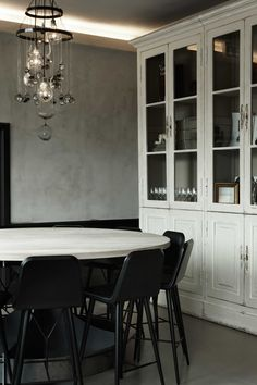 Geist, Copenhagen by Space CPH. Bo Bech's restaurant at Kgs. Dining Table In Kitchen, Dining Area, Dining Room, Space Copenhagen, Suite Life, China Cabinet, Bar Stools, Building A House, Sweet Home