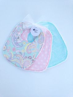 Baby girl bibs - Paisley - Baby Bibs - pink and blue Bib Pattern, Handmade Baby Gifts, Toddler Age, Baby Makes, Baby Girl Gifts, Baby Shop, Shopping Mall, Baby Bibs, Baby Products