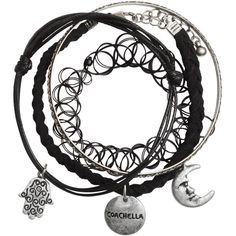 4-pack Bracelets $9.99 ($9.99) ❤ liked on Polyvore featuring jewelry, bracelets, accessories, braid jewelry, charm jewelry, plastic charms, plastic bangles and charm bangle