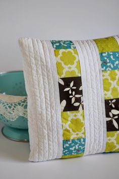 Modern Pillow Cover 14x14 Quilted Patchwork by knittybitties. $28.00 USD, via Etsy.