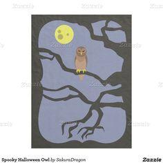 Spooky Halloween Owl Fleece Blanket