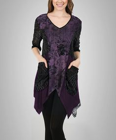 This Purple & Black Floral Crochet-Contrast Handkerchief Tunic - Plus is perfect! #zulilyfinds  $39.99