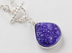 Druzy Necklace purple Titanium Quartz Agate Gemstone Lariat Sterling Silver Pendant Necklace Statement jewelry Gift Steampunk Nation 2305 on Etsy, $45.00