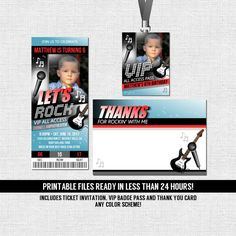 Concert Ticket Invitations Rock Star Birthday Party (Printable Files) Thank You Card + VIP All Access Pass-  by nowanorris on Etsy