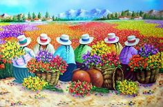 ♥♥♥ Arte Latina, Mexican Artwork, Peruvian Art, Naive Art, Flower Market, Dot Painting, Pictures To Paint, Beautiful Paintings, Indian Art