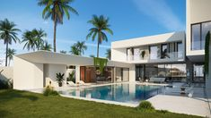 Villa in Abu Dhabi on Behance Modern House Facades, Modern Exterior House Designs, Modern Buildings, Modern House Design, Dream Beach Houses, Luxury Homes Dream Houses, Marbella Villas, Villa Design, Home Design Plans
