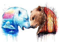 Items similar to Bear Cross Stitch Kit- JoJoes Art and Scandy Girl- 'We're In This Together' Counted Cross Stitch Kit- Ice Caps- Woodland Fire- Enviroment on Etsy Cute Drawings, Animal Drawings, Art It, Illustration Vector, Desenho Tattoo, Bear Art, Wildlife Art, Art Inspo, Art Sketches