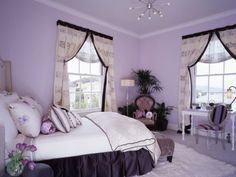 purple bedroom with white accents