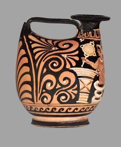 Duck askos  Dated about 330–320 B.C. Dimensions 19.6 x 16 cm (7 11/16 x 6 5/16 in.) Medium Ceramic, Red Figure Collections The Ancient World Classifications Vessels Culture Greek, South Italian Place of Manufacture Apulia, Italy