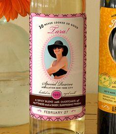 30th birthday wine label