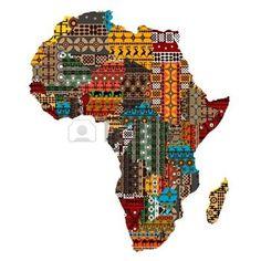 kaart+afrika%3A+Afrika+kaart+met+landen+uit+etnische+texturen+Stock+Illustratie