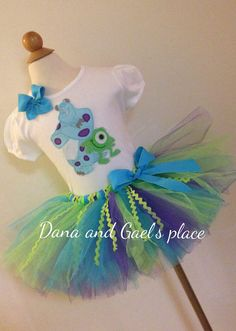 Cute Mike and Sully monters inc tutu And by DanaandGaelsplace Sully Monsters Inc, Monsters Ink, Monster Inc Birthday, Monster Party, Halloween Birthday, 2nd Birthday, Birthday Ideas, Mike And Sully Costume, Sully And Boo