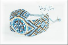 Bracelet Loom turquoise marron1