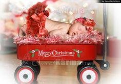 #504 Red Wagon Christmas Newborn or Child Digital Photo Backgrou