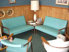 retro aqua living room