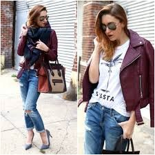 Image result for styling burgundy leather jacket