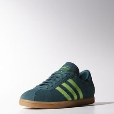 adidas Tobacco Shoes: Bringing back the iconic Tobacco, these vintage-style men's shoes have a smooth suede upper, leather 3-Stripes and waxed laces. - Vintage suede upper - Waxed laces - Sketch mesh lining - Contrast premium leather 3-Stripes - Classic slightly translucent gum rubber outsole - Rich Green / Solar Green / Gum, zoom