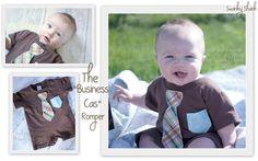 Swanky Baby Boy Business Cas Romper in Chocolate by SwankyShank, $21.00