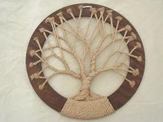 Tree of life hippie vintage macrame wall hanging in huge circle frame