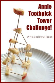 Apple Toothpick Tower Challenge is a great STEM activity for Kindergarten, 1st grade, 2nd grade, 3rd grade, and 4th grade stunts (fall, kids activities) Activities For Kindergarten Children, Fall Activities For Preschoolers, Preschool Apple Activities, 4th Grade Activities, 1st Grade Science, Steam Activities, Preschool Science, Autumn Activities, Kindergarten Activities