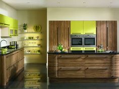 chartreuse accents in a rustic modern kitchen #kitchen #kitchencolors