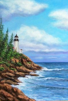 """Maine Lighthouse"" Original Acrylic painting by Sandy Young"