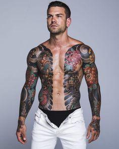 Hot Guys Tattoos, Sexy Tattoos, Body Art Tattoos, Mens Body Tattoos, Sexy Tattooed Men, Tatted Men, Full Body Tattoo, Traditional Japanese Tattoos, Asian Tattoos