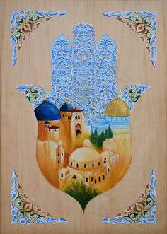 """Hamsa - Jerusalem Domes,"" egg tempera painting on wood, inch by the hand of Alina Smolyansky Hamsa Painting, Mandala Painting, Palestine Art, Arabesque, Hamsa Art, Ganesha, Symbolic Art, Mini Canvas Art, Hand Of Fatima"