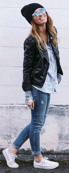 how to wear converse with jeans and leather jacket