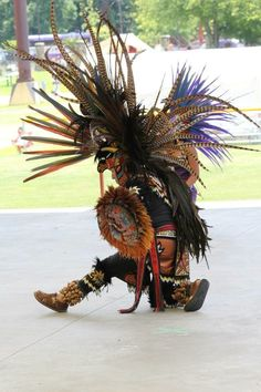 Festival of Native Peoples: Traditional dance and performance of indigenous peoples of the Americas; held in Cherokee NC, July 2013. Photo of Aztec Dancer.