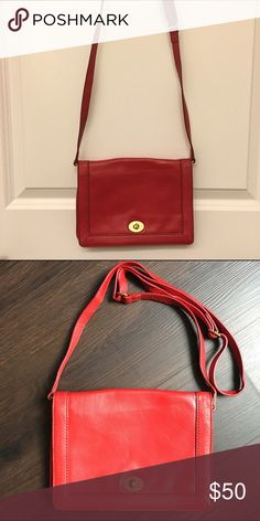 J. Crew red leather crossbody Gently used. Pockets inside! Detachable strap. J. Crew Bags Crossbody Bags