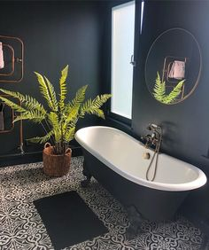 This is my favourite room in the house, but now my attention is turning to the bathroom that's going to go up into our loft conversion. I'm… Bathroom Bad Inspiration, Bathroom Inspiration, Bathroom Ideas, Bathroom Designs, Bathroom Vanities, Bathroom Cabinets, Brass Bathroom, Remodel Bathroom, Dark Tiled Bathroom