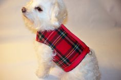 RockinDogs Christmas Dog Harness. Red Plaid Flannel Dog Harness for boys or girls