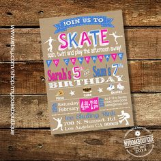 Roller skating birthday invitation roller skates party invite rollerskate kraft combined joint digital printable invitation 14048 by myooakboutique on Etsy