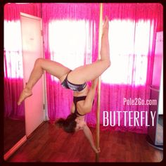 Butterfly Pole dancing. Pole fitness, pole moves