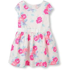 Toddler Girl's Short Sleeve Floral Dress ($12) ❤ liked on Polyvore featuring baby