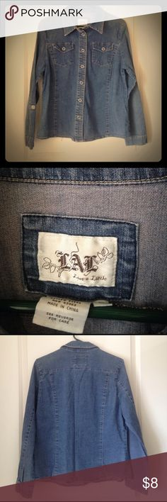 """💥Make me a REASONABLE offer💥Denim by, """"LAL"""" Denim button down. Very gently used. Live A Little Tops Button Down Shirts"""