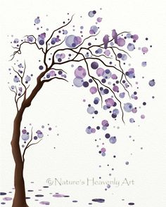 Watercolor Tree Art - I love the two little birds in the top corner. Cool family tree tattoo idea except make dots shades of green, with red bird for me, blue for Dboy, purplish pink birds for girls, purplish blue for trey.