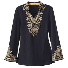 Metallic Embroidery Knit Tunic - Women's Clothing, Jewelry, Fashion Accessories and Gifts for Women with a Flair of the Outdoors | NorthStyle