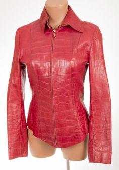 ESCADA Croc Crocodile Embossed Lambskin Leather Jacket Sz 34 US 4   eBay