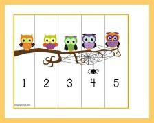 Five Little Owls free printable puzzle
