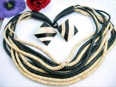 Multi-10-Strand-BLACK-NATURAL-WOOD-BEAD-NECKLACE-Vintage-Clip-On-EARRINGS-SET