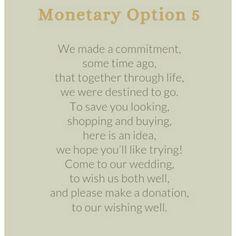 21 Best Monetary Gift Wording Images Wedding Gift Poem Wedding