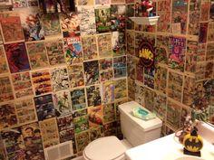 Man cave bathroom 44613852537054838 - My comic book bathroom – I would be okay with this in my house. Batman Bathroom, Superhero Bathroom, Man Cave Bathroom, Superhero Room, Downstairs Bathroom, Bathroom Toilets, Comic Book Wallpaper, Newspaper Wallpaper, Best Man Caves