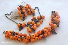 Rowan berries from polymer clay jewelry